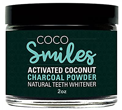 Coco Smiles - All Natural Teeth Whitening Powder - Made in USA with Activated Charcoal - Safe Effective Tooth Whitener Solution. Better than Strips, Kit, Gel & Whitening Toothpaste.