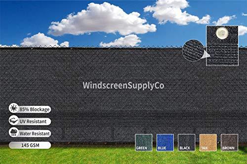 Heavy Duty 6 ft. X 50 ft. Privacy Windscreen Fence Screen Mesh Tarps W/Binding Grommets (1, Black)