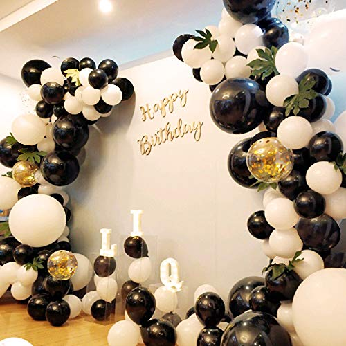 School Season Decoration 130Pcs10In Black and White Balloon Garland Arch Kit,Green Turtle Leaves,Inflator Pump,Birthday, Wedding,Baby Shower,Corporate Events, Bachelor Party,Photo Background]()