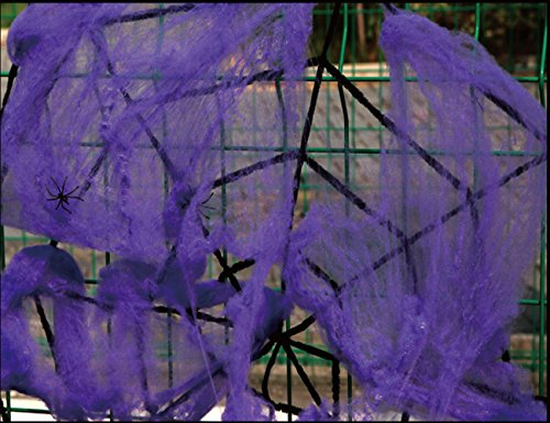 Spider Webs Stretch Cobweb for Halloween Party Decoration Prop WJR01 (Purple)