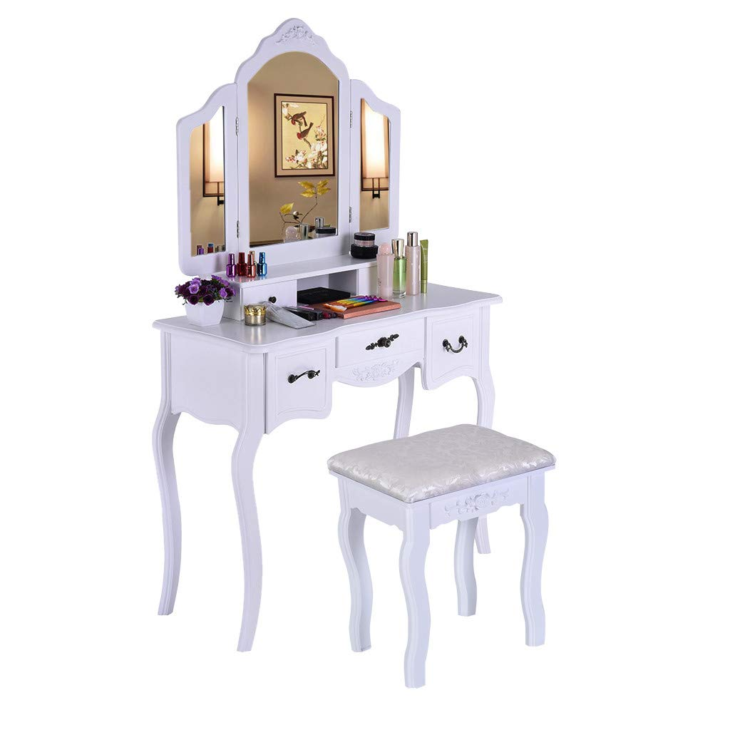 Makeup Vanity Table Set - Dressing Table with High Brightness 3 Mirrors, Exquisite 5 Storage Drawers & Durable Wooden Stool (White)
