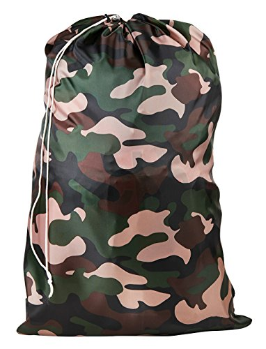 Nylon Laundry Bag - Locking Drawstring Closure and Machine Washable. These Large Bags Will Fit a Laundry Basket or Hamper and Strong Enough to Carry up to Three Loads of Clothes. (Camouflage) (Hamper Cloths Camo)