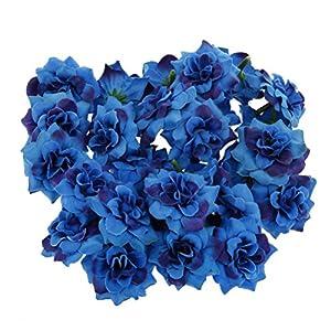 Yardwe 50PCS Artificial Rose Flower Heads Faux Silk Rose Heads Home Garden Party Decorations (Blue) 84