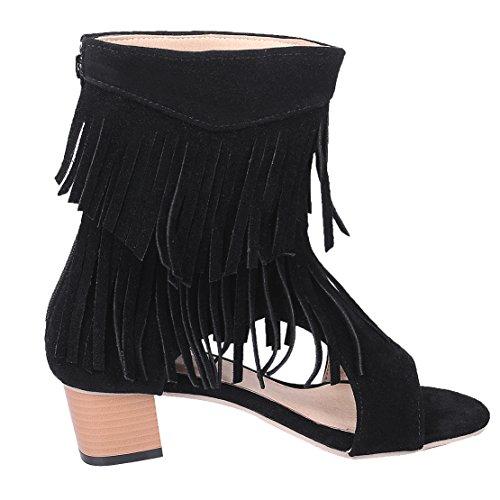 AIYOUMEI Damen Offen Wildleder Blockabsatz Sandalen mit 5cm Absatz und Fransen Chunky Heel Sommer Stiefel Schwarz
