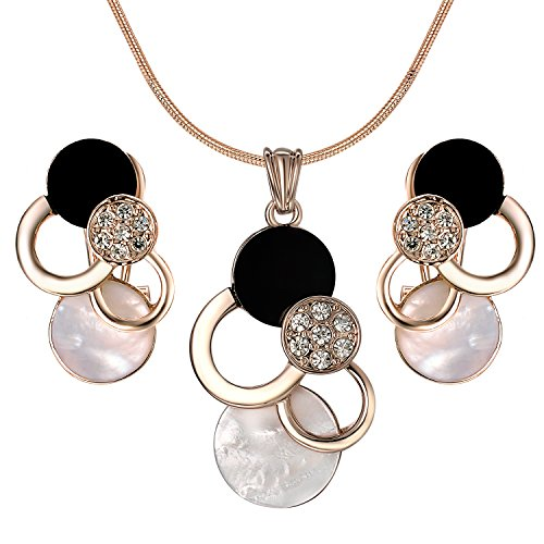 Yoursfs White and Black Shell Jewelry Set 18K Rose GP Geometric Round Pendant Necklace and Earrings ()