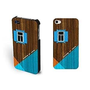 Individualized Cool Color Blocking Pattern Hard Geometric Wood Print Case Iphone 4 4s for Girls ,Light Black (black ju 5236)