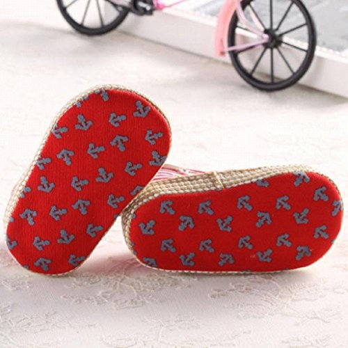 Auxma Zapatos 0 Mes Rojo De Que Bebés Muchachos Primeros Lisos Lindos Los Caminan Newborn 18 Por Antideslizantes qRpTx