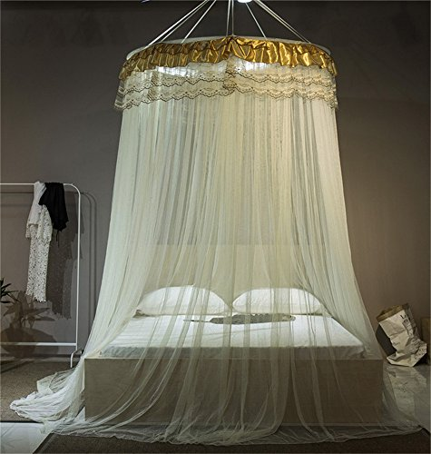 Zhiyuan Satin and Lace Decor Dome Mosquito Net Bed Netting Canopy Curtain for Twin Full Queen King Bed, ()