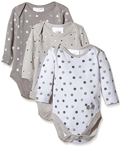 Twins Unisex Baby Langarm-Body im 3er Pack, Gr. 86, Mehrfarbig (micro chip 144105)