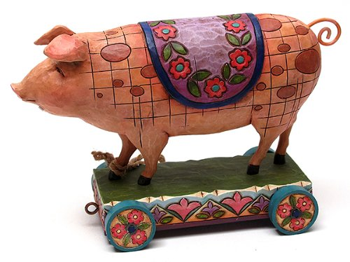 Jim Shore Pig on Cart
