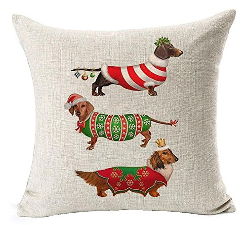 Animal adorable christmas dachshund hot diggedy-dog Cotton Linen Throw Pillow covers Case Cushion Cover Sofa Decorative Square 18 inch (8)