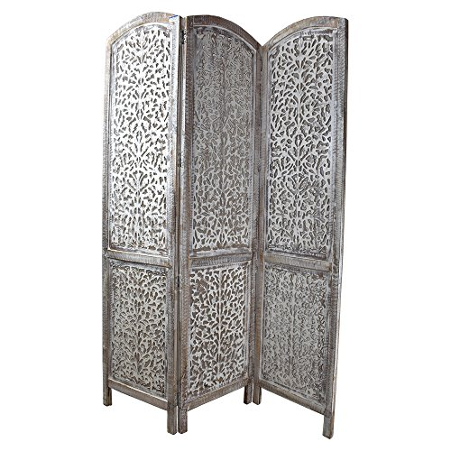 Indian Heritage Wooden Screen 18x72 Three Panel Mango Wood and MDF Cutout Design in White Distress (Carved Wooden Screen)