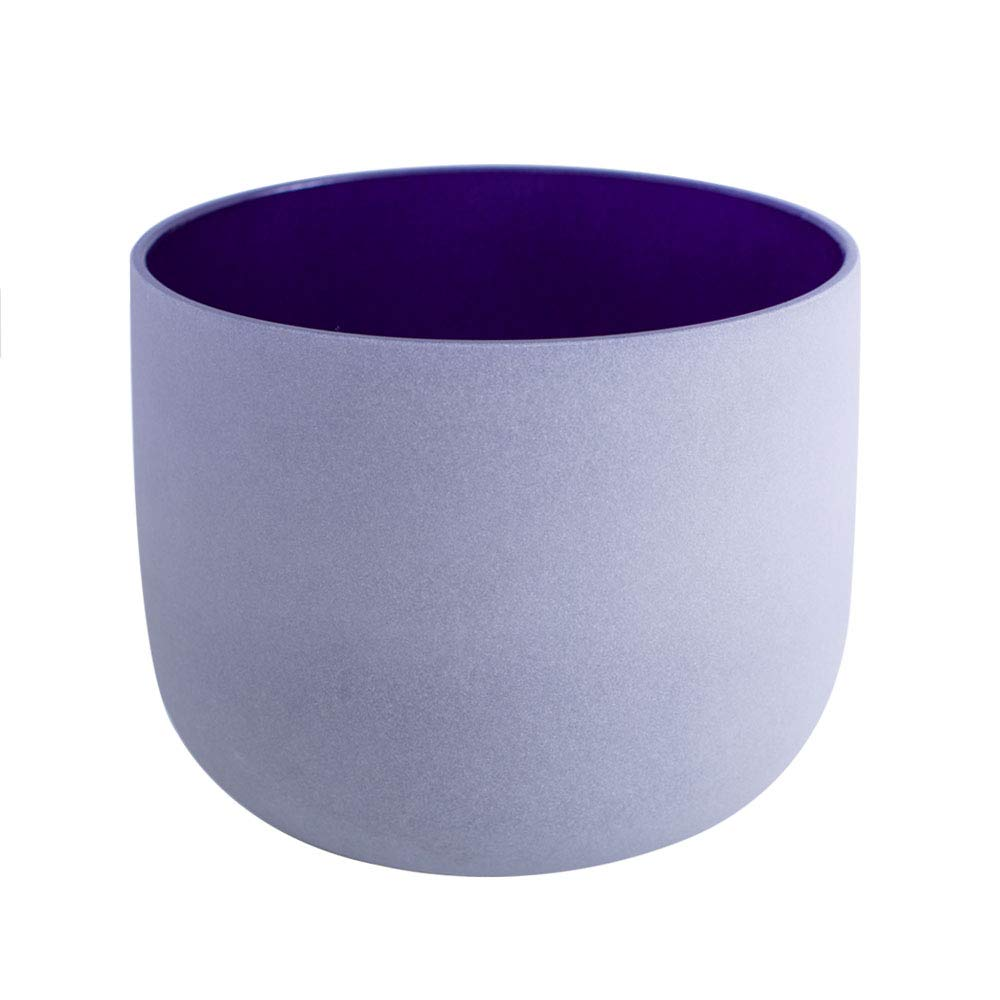 432Hz Perfect Pitch A Note Third Eye Chakra Indigo Color Frosted Quartz Crystal Singing Bowl 12 inch mallet and o-ring included