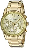 Akribos XXIV Men's AK865YG Round Yellow Gold Dial Chronograph Quartz Gold Tone Bracelet Watch
