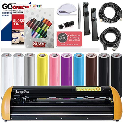 GCC Professional Expert II LX Vinyl Cutter 24 Inch Wide Creative Bundle with Aligning System for Contour Cutting