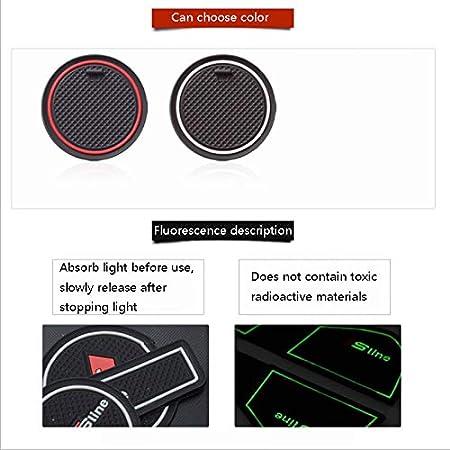 D28JD Rubber mats non-slip mats for F-ord 2009-2014 Fiesta inner door mat cup holder slot pad center console mat,Black red