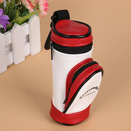 Alloet PU Leather Material Mini Portable Golf Ball Storage Bag Small Waist Pack with 3 Golf Balls by Alloet (Image #1)