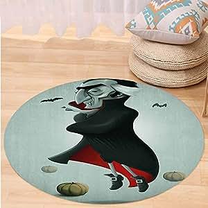 Kisscase Custom carpetVampire Creepy Halloween Night Pumpkins and Old Vampire with Cape Flying Bats for Bedroom Living Room Dorm Black Almond Green Red