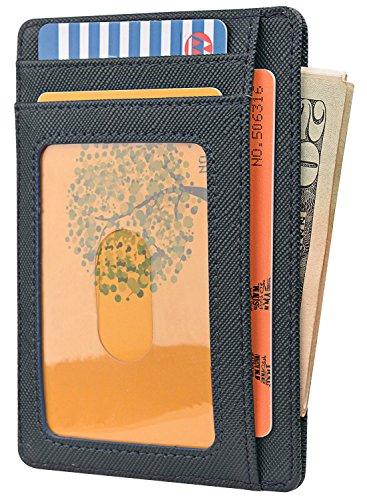 Slim Minimalist Leather Wallets for Men & Women - Cross Blackish Green by Buffway (Image #1)