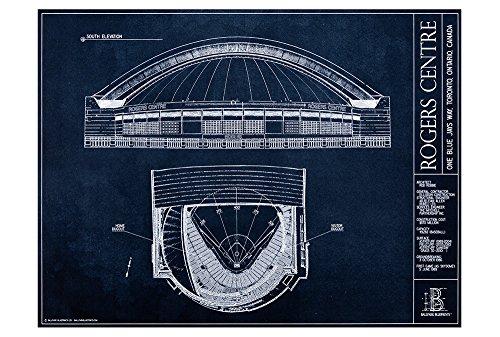 (Rogers Centre Blueprint Style Print (Unframed, 18