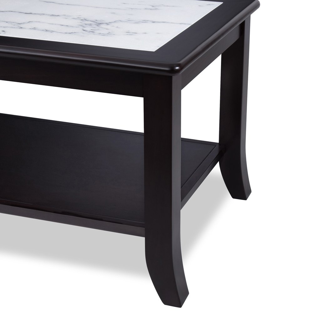 Olee Sleep Classic Calacatta Natural Marble Top Solid Wood Edge Coffee Table/Tea Table/End Table/Side Table/Office Table/Computer Table/Vanity Table/Dining Table, (White/Black)