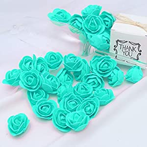 KODORIA 100pcs Artificial Foam Rose Head Artificial Rose Flower for DIY Bouquets Wedding Party Home Decoration - Tiffany Blue 4