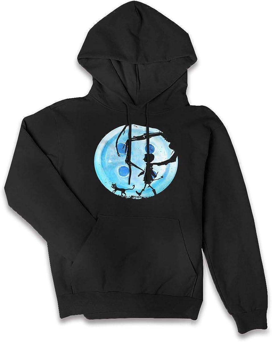 SDFPAFNJKA Coraline Blue Full Moon Nightmare Cat Halloween Horror Button Womens Hoodie Sweatshirts Sweater
