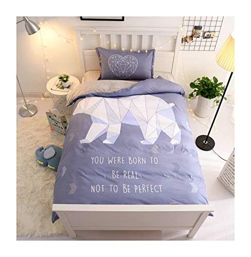 (KFZ Warm Cotton/Crystal Velvet Twin Bed Set, Duvet Cover Flat Sheet Pillow Cover, ZL Animal Unicorn Polar Bear Cat for Girls Princess Kids 3pcs No Comforter (Polar Bear, Rose Red, Twin 60