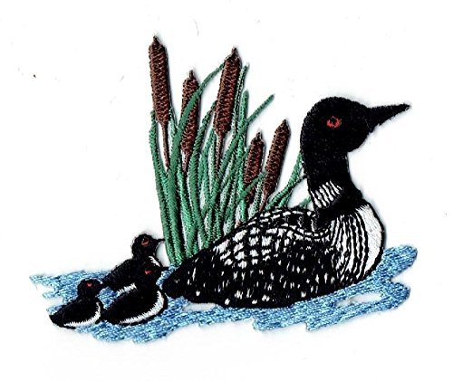 Divers Loon Bird with Chicks in Cattails Iron on Embroidered Patch Applique ()