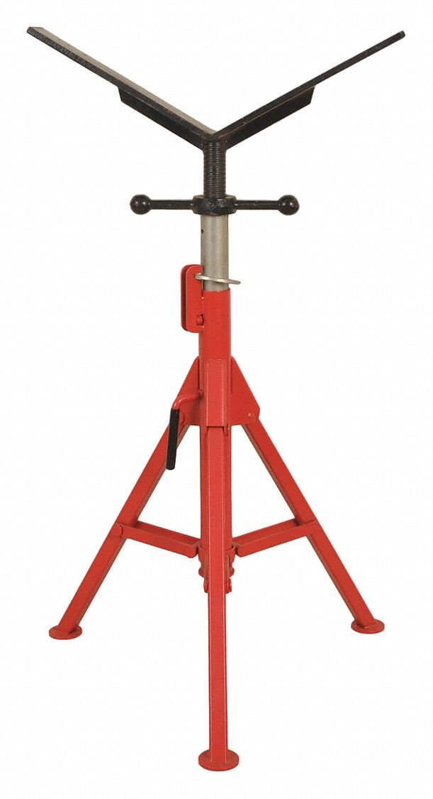 V-Head Pipe Stand, 1/2'' to 16'' Pipe Capacity, 27'' to 50'' Overall Height, 2500 lb. Load Capacity