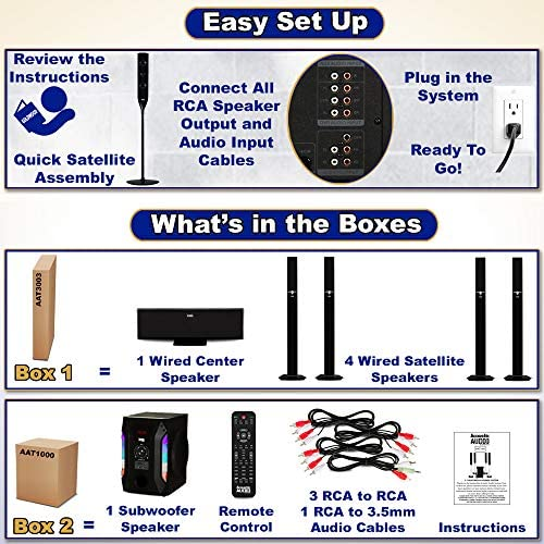 Acoustic Audio AAT1003 Bluetooth Tower 5.1 Home Theater Speaker System with 8″ Powered Subwoofer 513p3Laj7ML