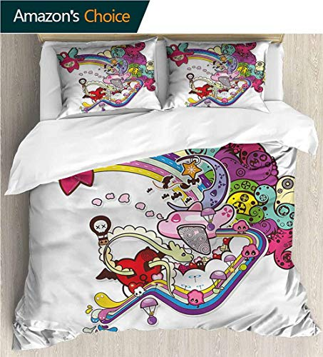 VROSELV-HOME Full Queen Duvet Cover Sets,Box Stitched,Soft,Breathable,Hypoallergenic,Fade Resistant Kids Bedding-Does Not Shrink Or Wrinkle-Doodle Abstract Hearts Mini Clouds (79