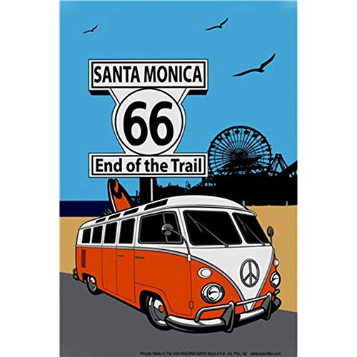 Easy Painter Santa Monica Decor, Route 66 Signs, Metal Tin Sign Vintage Retro Wall Decor Art, 20x30cm