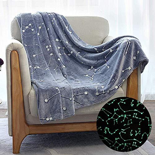 Kanguru Glow in The Dark Constellation Blanket, Halloween Blanket Gifts for Kids Women Girls Best Friend