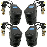 AimHD 4 Pair Passive Video/Power Balun Upgraded 1080P 3MP 4MP Network Transceiver with RJ45 Connector Cat5/Cat6 Cable to BNC Male Adapter for Full HD Security Surveillance Camera System- 8Pack
