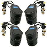 AimHD 4 Pair Passive Video/Power Balun Upgraded 1080P - 5MP BNC to RJ45 Long Distance Network Transceiver Cat5e / Cat6 Cable to BNC Male Adapter for Full HD Security Surveillance Camera System- 8Pack