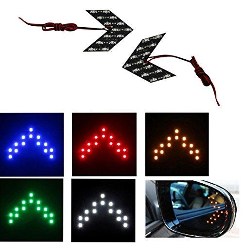 Sinwo 2 Pcs 14 SMD LED Arrow Panel Rear View Mirror Indicator Turn Signal Car Light - Blue Arrow Led Mirrors