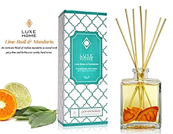 Superbe LUXE Home Lime Basil U0026 Mandarin Fragrance Reed Diffuser With Bamboo Reed  Sticks | Italian Mandarin