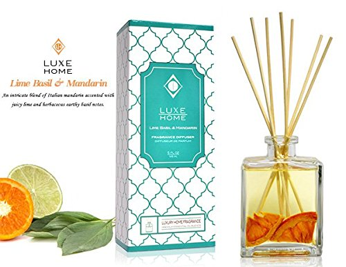 Luxe Home Lime Basil & Mandarin Fragrance Reed Diffuser with Bamboo Reed Sticks | Italian Mandarin, Juicy Lime & Herbaceous Basil | Great Bathroom Scent Gift Idea for The Home!