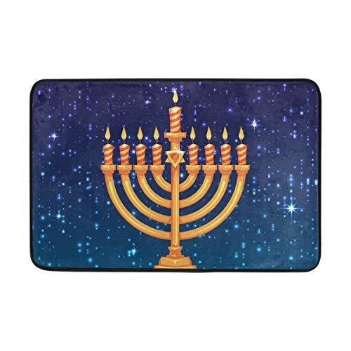 Carpet Happy Hanukkah Jewish Holiday Candle Doormat 15.7 x 23.6 inch, Living Room Bedroom Kitchen Bathroom Decorative Lightweight Foam Printed Rug