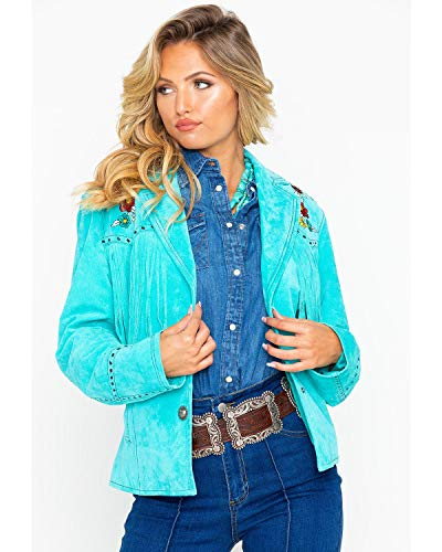 Cripple Creek Women's Turquoise Embroidered Fringe Leather Jacket Turquoise -
