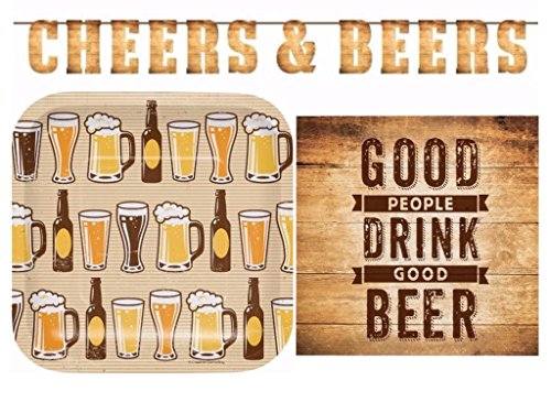 Cheers & Beers Birthday Party Supplies Kit Including Plates, Napkins and Banner for 16 Guests