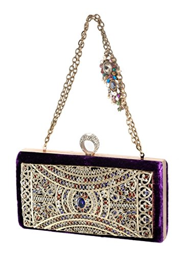 Scintillating Silver Intricately Adorned Clutch by Meera Mahadevia
