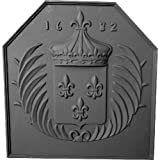 Black Cast Iron Crown Fireback - 24.5 x 23.75 inch