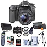 Canon EOS 80D DSLR Camera Body with EF-S 18-55mm F3.5-5.6 IS STM Lens Black - Bundle w/Camera Bag, 64GB SDHC Card, Spare Battery, Tripod, Remote Shutter, 58mm Filter Kit, Software Pack, Memory Wallet