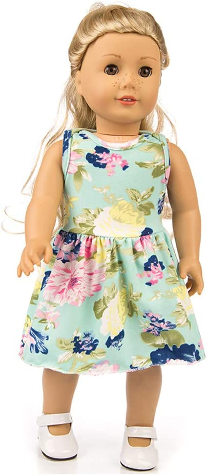 Panties Clothes Outfits Doll Accessory Choosebuy❤️ 18 Inch Girl Doll Printed Dress Green