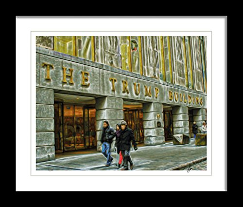 Ombura Trump Tower Entrance - Limited Edition, Signed - 8x10 Photo Sketch Artwork - Great Gift Idea for Any Donald Trump Fan - Frame Not Incl.