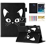 iPad 9.7 inch 2018 2017 Case/iPad Air Case/iPad Air 2 Case, Dteck PU Leather Folio Smart Cover with Auto Sleep Wake Multiple Stand Wallet Case for Apple iPad 6th / 5th Gen,iPad Air 1/2, Black Cat