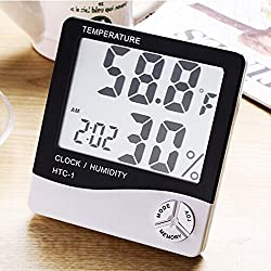 Erin Digital Hygrometer Indoor Humidity Meter and Temperature Monitor Thermometer Accurate Readings with Large LCD Digital Display and Alarm Clock JH-5