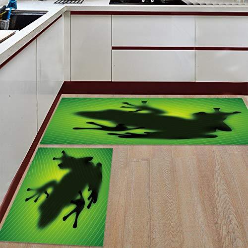 s and Rugs,15.7x23.6in+15.7x47.2in Frog Indoor Floor Area Rug Low Profile Absorbent Runner for Home Bathroom Bath Bedroom ()